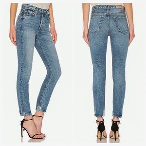 GRLFRND Karolina Distressed High Rise Skinny Jeans